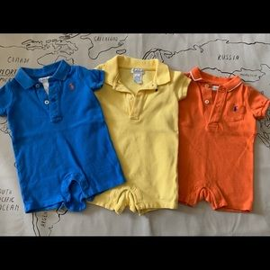 Lot of 3 Ralph Lauren one piece baby outfits